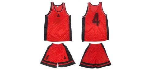 Баскетболен екип в комплект 7бр. в червено и черно СПОРТНИ СТОКИ