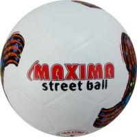 Гумена футболна топка №5 в бяло и шарена щампа СПОРТНИ СТОКИ