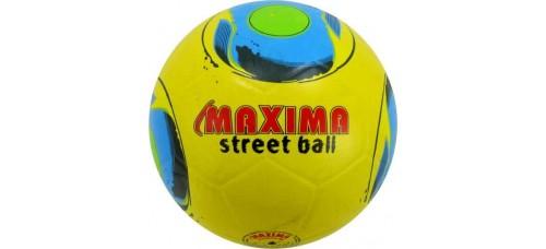 Гумена футболна топка №5 в жълто и синьо-зелена щампа СПОРТНИ СТОКИ