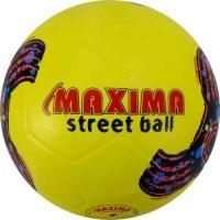 Гумена футболна топка №5 в жълто и шарена щампа СПОРТНИ СТОКИ