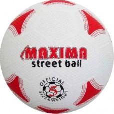 Гумена футболна топка №5 в бяло и червено СПОРТНИ СТОКИ