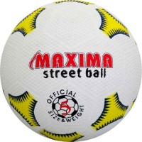 Футболна гумена топка №5 в бяло, жълто и синьо СПОРТНИ СТОКИ