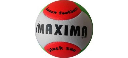 Топка за плажен футбол №5 в бяло, червено и зелено СПОРТНИ СТОКИ